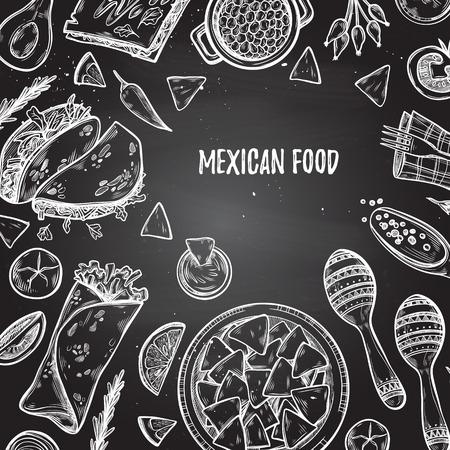 Illustrations dessinées à la main - Cuisine mexicaine (tacos, nachos, burritos, piment, avocat, sauce, tomates, maracas). Esquisser. Modèle pour votre conception avec un fond de tableau.