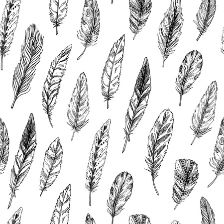 softly: Hand drawn vector vintage illustration - Feathers. Ink and feather. Seamless pattern with nature elements. Abstract background Illustration