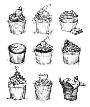 cupcakes isolated: Hand-drawn vector illustration - Sweet cupcakes. Isolated on white background. Mega set of desserts