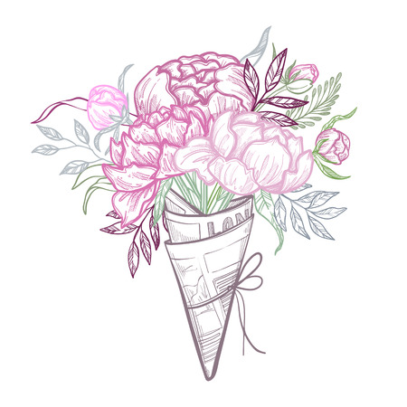 dogrose: Hand drawn vector illustration - fashion bouquet of peonies, leaves, and blossom. Floral design elements. Perfect for invitations, greeting cards, blogs, wedding invitations, posters etc. Illustration