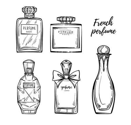fragrance: Hand drawn vector illustrations - french perfume. Outline design elements. Fashion sketch. Glass bottles with floral aroma. Perfect for invitation, greeting card, poster, print etc. Illustration