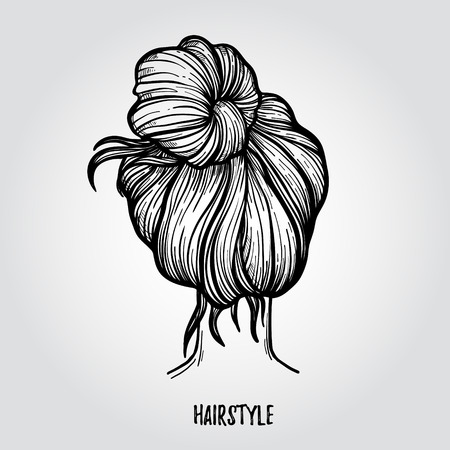 braided: Hand drawn vector illustration - ladies fashion hairstyle. Beauty salon.