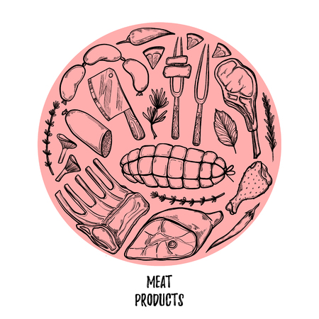 Hand drawn vector illustration - Meat products (chicken, pork, steak, sausage, salami, tomato, herbs and spices). Sketch. Template for your design