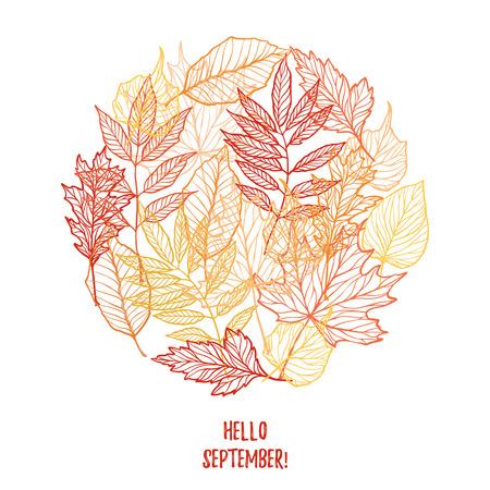 ranger: Hand drawn vector illustration. Background with Fall leaves. Autumn design elements. Hello September! Illustration