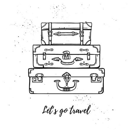 Illustrazione vettoriale disegnato a mano - Andiamo viaggio. Moda valigie e borse impilate. Viaggio nel mondo. Perfetto per inviti, biglietti di auguri, stampe, volantini, poster ecc