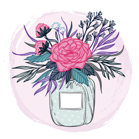 Hand drawn vector illustration - fashion bouquet of flowers, leaves, and blossom. Floral design elements. Perfect for invitations, greeting cards, blogs, wedding invitations, posters etc. Illustration
