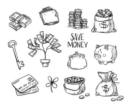 Dibujado a mano ilustraciones de vectores - ahorrar dinero. Doodle elementos de diseño. Dinero, finanzas, pagos, bancos, efectivo, etc. Ilustración de vector