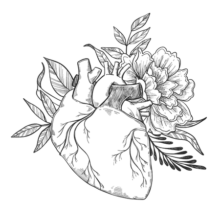 Hand drawn vector illustrations - Human heart with flowers and leaves. Floral design elements. Perfect for invitations, greeting cards, quotes, blogs, posters.