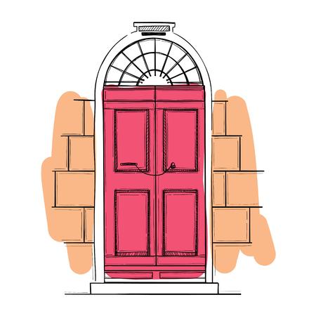 Illustrations vectorielles dessinés à la main - ancienne porte vintage. Isolé sur fond blanc