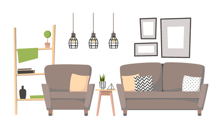 Flat Illustration   Home Interior Design. Cozy Living Room With Sofa,  Table, Stairs