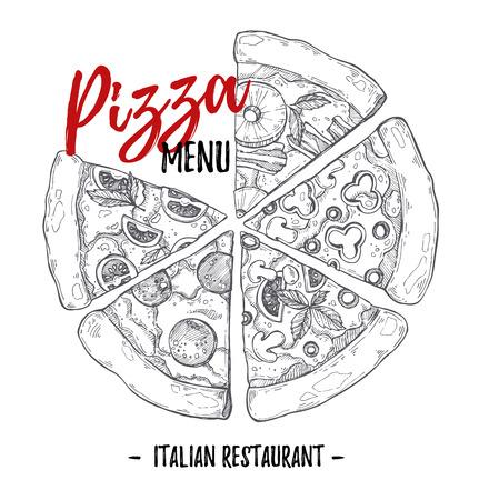 Hand drawn illustration - pizza menu (Italian restaurant). Types of pizza: Pepperoni, Margherita, Hawaiian, Mushroom. Sketch style