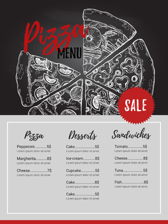 Hand drawn illustration - pizza menu on chalk background (Italian restaurant). Types of pizza: Pepperoni, Margherita, Hawaiian, Mushroom. Sketch style Illustration