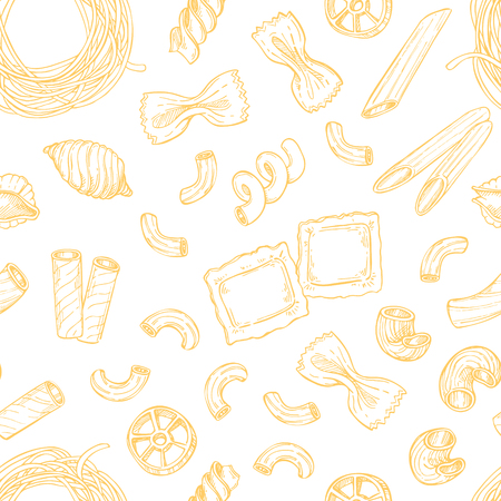 Hand drawn seamless pattern - Italian pasta. Different kinds of pasta. Design elements in sketch style. Perfect for menu, cards, blogs, banners.