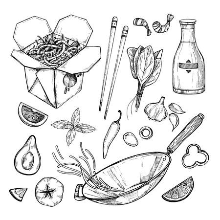 Hand drawn illustration - Wok. Wok box, wok pan, chinese noodles, tomato, pepper, shrimp, soy sauce etc. Asian fast food Illustration