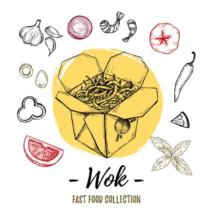 Hand drawn illustration - Wok. Wok box, chinese noodles, tomato, pepper, shrimp, olive, basil etc. Asian fast food