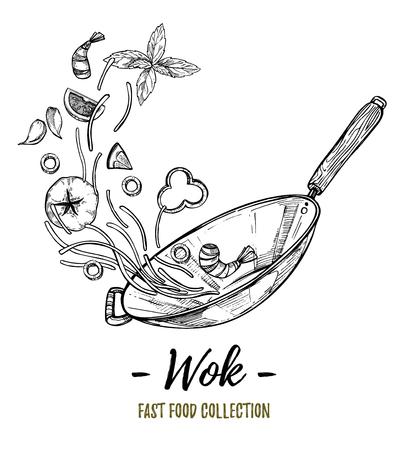 Dibujado a mano ilustración - Wok. Wok pan, fideos chinos, tomate, pimiento, camarones, aceite de oliva, albahaca, etc comida rápida asiática