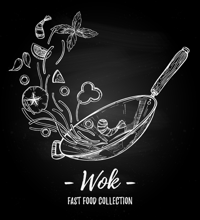 Hand drawn illustration - Wok. Wok pan, chinese noodles, tomato, pepper, shrimp, olive, basil etc. Asian fast food