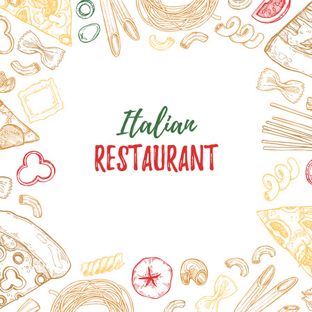 Hand drawn illustration - Different kinds of pasta and pizza. Design elements in sketch style. Perfect for menu, cards, blogs, banners.