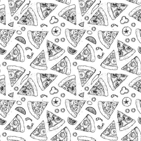 Hand drawn pattern - pizza. Types of pizza: Pepperoni, Margherita, Hawaiian, Mushroom. Sketch style