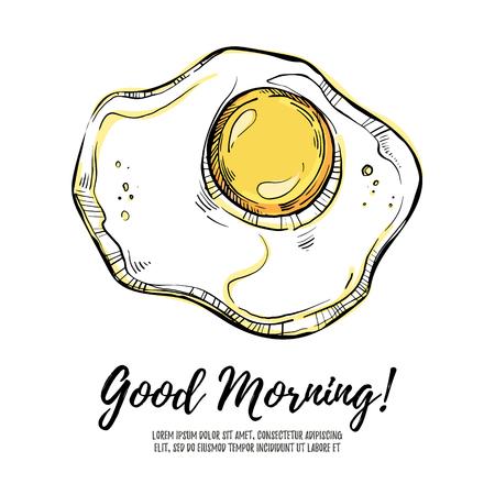 Hand drawn illustration - good morning! Scrambled eggs. Illustration