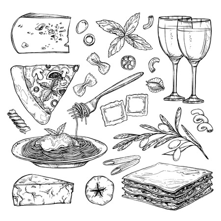 Hand drawn illustration - Italian food ( Different kinds of pasta; pizza, olives, tomato, basil, lasagna, wine, cheese etc). Design elements in sketch style. Perfect for menu, cards, blogs, banners.