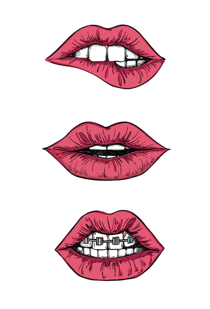 Hand drawn illustrations - Sweet lips. Mouth with teeth. Female red lips set isolated on white background. Perfect for invitations, greeting cards, quotes, blogs, posters.
