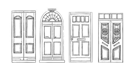 Hand drawn illustrations - old vintage doors. Isolated on white background. Vectores