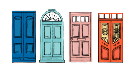 Hand drawn illustrations - old vintage doors. Isolated on white background. Stock Illustratie