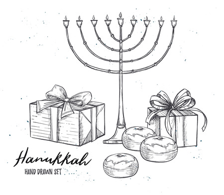 Hand drawn illustration - Hanukkah. Jewish Holiday. Set of design elements in sketch style. Can be used like: invitations, greeting cards, posters Illustration
