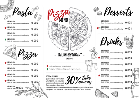 Illustrazione disegnata a mano - menu italiano. Pasta e pizza. Perfetto per brochure ristorante, caffetteria, menu di consegna. Modello di progettazione con illustrazioni in stile schizzo. Archivio Fotografico - 72795180
