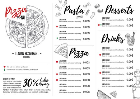 Hand drawn illustration - Italian menu. Pasta and Pizza. Perfect for restaurant brochure, cafe , delivery menu. Design template with illustrations in sketch style.