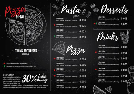 stuffing: Hand drawn vector illustration - Italian menu. Pasta and Pizza. Perfect for restaurant brochure, cafe flyer, delivery menu. Design template with illustrations in sketch style.