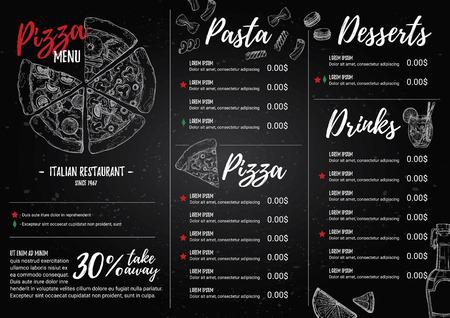 Ilustración vectorial dibujado a mano - menú italiano. Pasta y Pizza. Perfecto para el folleto de restaurante, flyer café, menú de entrega. Plantilla de diseño con ilustraciones en estilo de bosquejo.