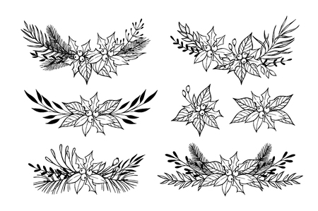 laurel leaf: Hand drawn set of winter wreaths ( laurel, leaf, holly, fir and pine branches, berry, flower, plant, twigs). Christmas design elements. Perfect for invitations, greeting cards, posters, prints, scrapbooking