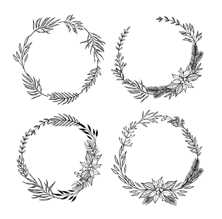 laurel leaf: Hand drawn set of Christmas wreaths .Christmas design elements ( laurel, leaf, holly, fir and pine branches, berry). Perfect for invitations, greeting cards, posters, prints