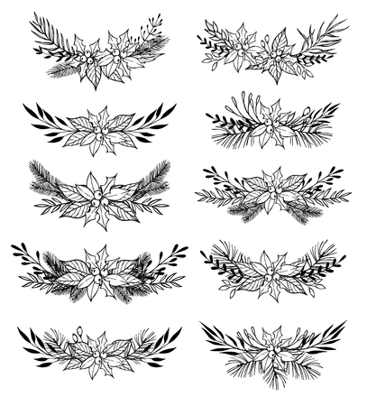 laurel leaf: Hand drawn set of winter wreaths ( laurel, leaf, holly, fir and pine branches, berry, flower, twigs). Christmas design elements. Perfect for invitations, greeting cards, posters, prints