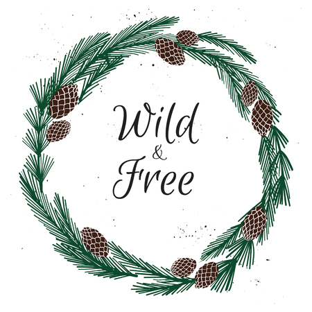 Hand drawn vector illustration. Vintage decorative christmas wreath. Tribal design elements. Perfect for invitations, greeting cards, quotes, blogs, posters and more. Merry Christmas and happy New Year