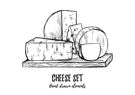 Hand drawn vector illustration. Cheese set (mozzarella, blue cheese, gouda, parmesan, maasdam). Isolated on white background. Design elements in sketch style. Perfect for packaging, menu, cards, blogs 矢量图像
