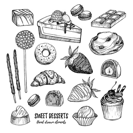 Hand drawn vector illustration - collection of goodies, sweets, cakes and pastries. Design elements in sketch style for confectionery and bakery shops. Perfect for menu, cards, blogs, banners, flyers etc