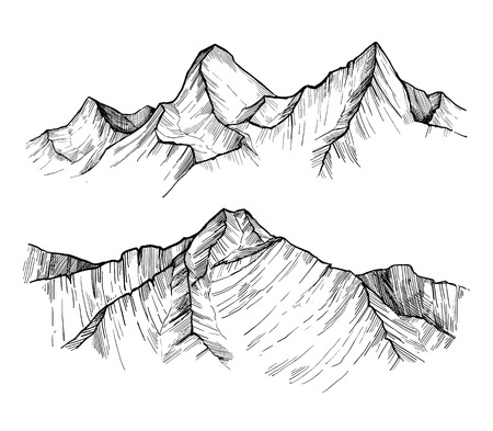 Hand drawn vector illustration - mountain peaks. Outdoor camping background in sketch style. Landscape. Vettoriali