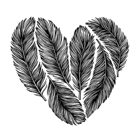 Hand drawn vector illustration -  Feathers in shape of heart. Happy Valentine day. Perfect for invitations, greeting cards, posters, prints Illustration