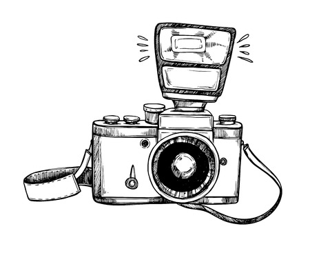 Hand drawn vector illustrations. Retro camera with flash and lace. Photographic equipment. Ilustração