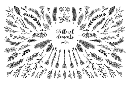 stock quotes: Hand sketched vector vintage elements ( laurels, frames, leaves, flowers, swirls and feathers). Wild and free. Perfect for invitations, greeting cards, quotes, blogs, Wedding Frames, posters and more. - stock vector  Hand sketched vector vintage elements  Illustration