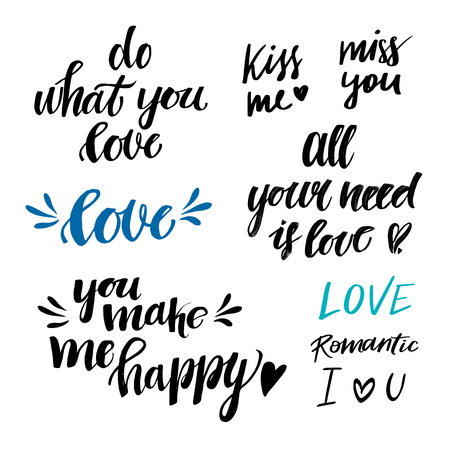Hand drawn vector illustrations - Lettering about love. Saint Valentines Day. Perfect for invitations, greeting cards, posters, prints, stamp Illustration