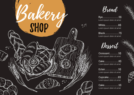 Hand drawn vector illustration - Promotional brochure of bakery. Perfect for restaurant brochure, cafe flyer, delivery menu. Ready-to-use design template with illustrations in sketch style. Illustration