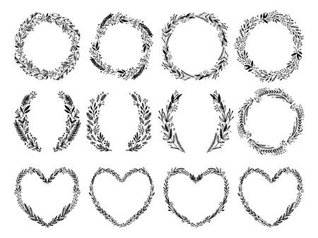 Hand getekend vectorillustratie - lauweren en kransen. Ontwerp elementen voor uitnodigingen, wenskaarten, citaten, blogs, posters en meer. Perfect voor bruiloft fotolijsten.