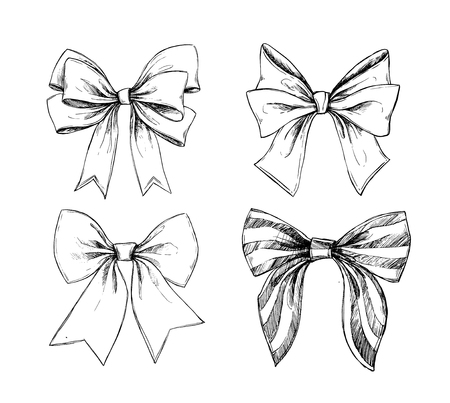smart card: Hand drawn illustrations - ribbons or bows