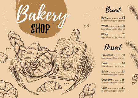 Hand drawn illustration - Promotional brochure of bakery.