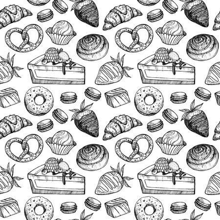 Hand drawn vector seamless pattern - collection of goodies, sweets, cakes and pastries. Background in sketch style for confectionery and bakery shops. Perfect for menu, cards, blogs, banners, flyers etc. Ilustração