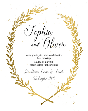 gold leaf: Hand drawn vector illustration - wedding invitation with vintage branches and inky splashes. Gold botanical leaves. Perfect for invitations, greeting cards, blogs, posters and more.